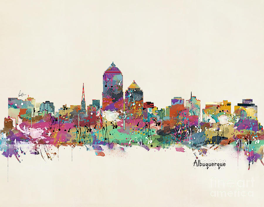 Watercolors Painting - Albquerque New Mexico Skyline by Bri Buckley