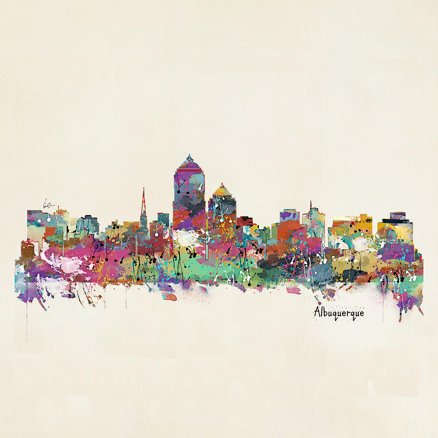 Watercolors Painting - Albquerque New Mexico Skyline Pillow by Bri Buckley