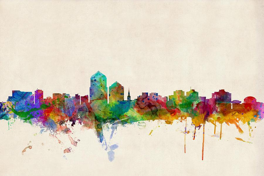 Watercolour Digital Art - Albuquerque New Mexico Skyline by Michael Tompsett