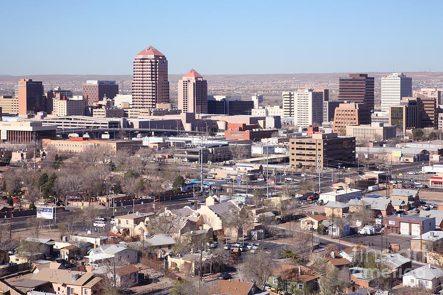 Aerial Photograph - Albuquerque Skyline by Bill Cobb