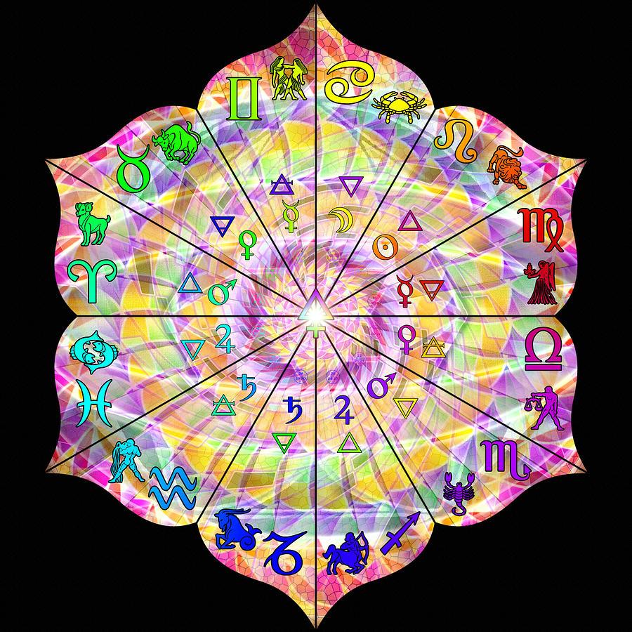 Sacred Drawing - Alchemical Lotus Zodiac by Derek Gedney
