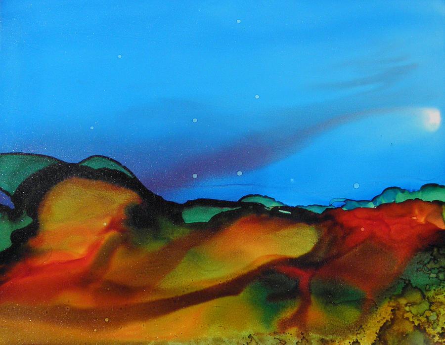 alcohol ink landscape # 134 by Sandra Fox