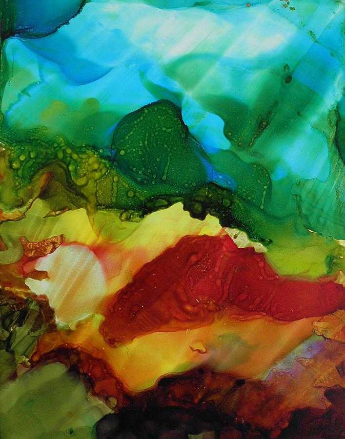 alcohol ink landscape # 157 by Sandra Fox