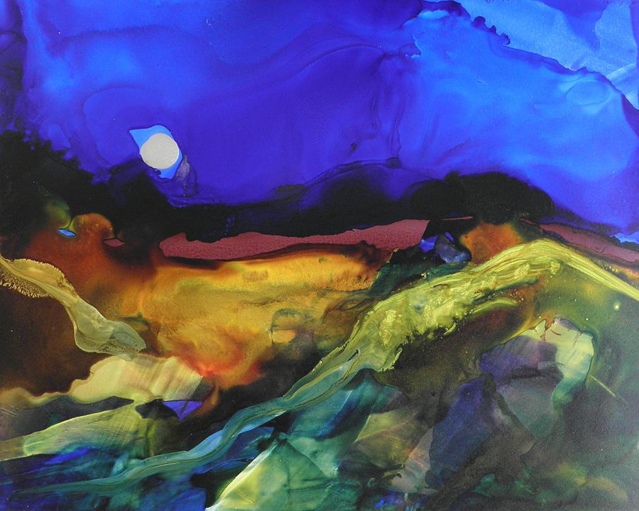 alcohol ink landscape # 164 by Sandra Fox