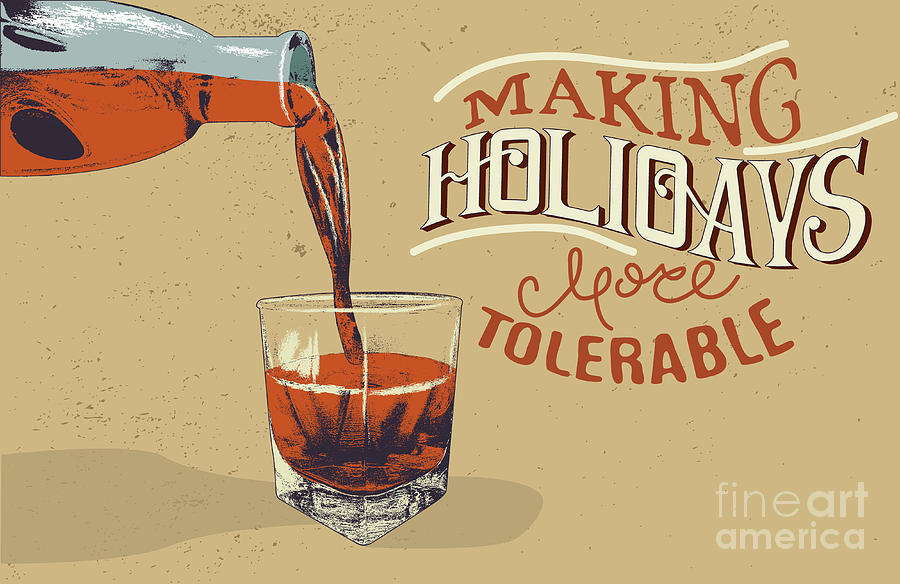 Typography Digital Art - Alcoholic Drink Is Poured From Bottle by Dimonika