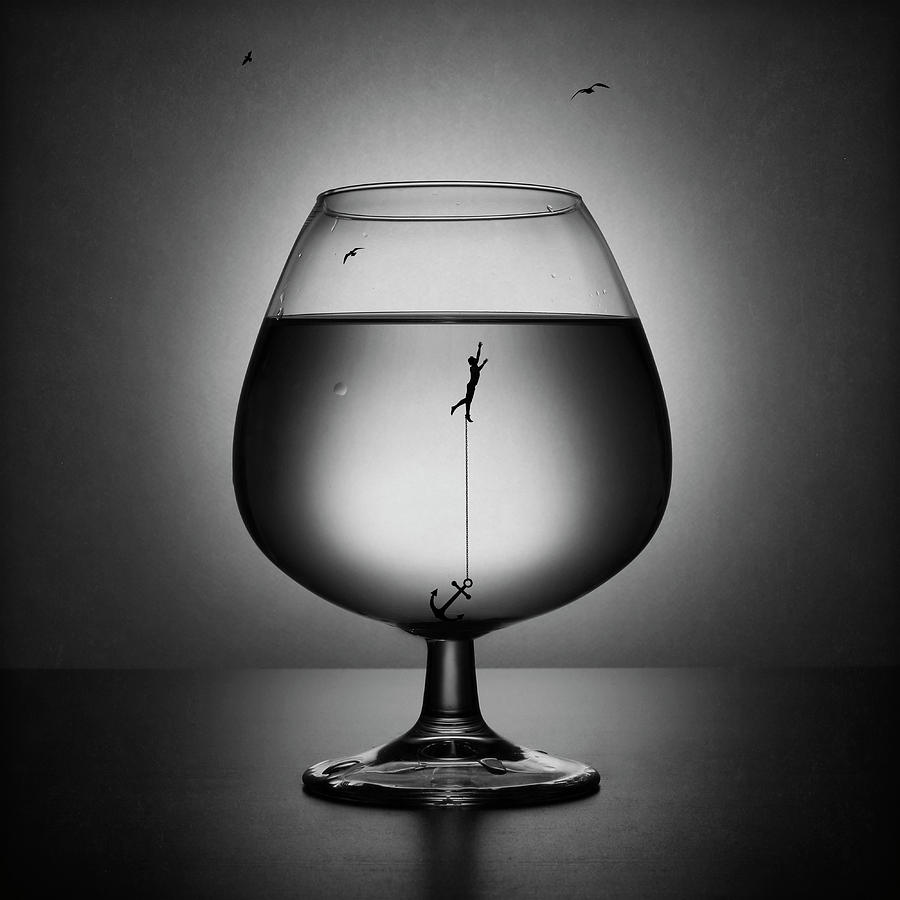 Creative Edit Photograph - Alcoholism. The Drowning by Victoria Ivanova
