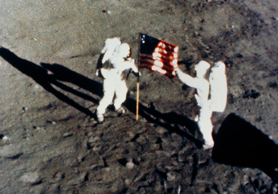 Aldrin Photograph - Aldrin & Armstrong Planting Us Flag On Moon by Nasa/science Photo Library