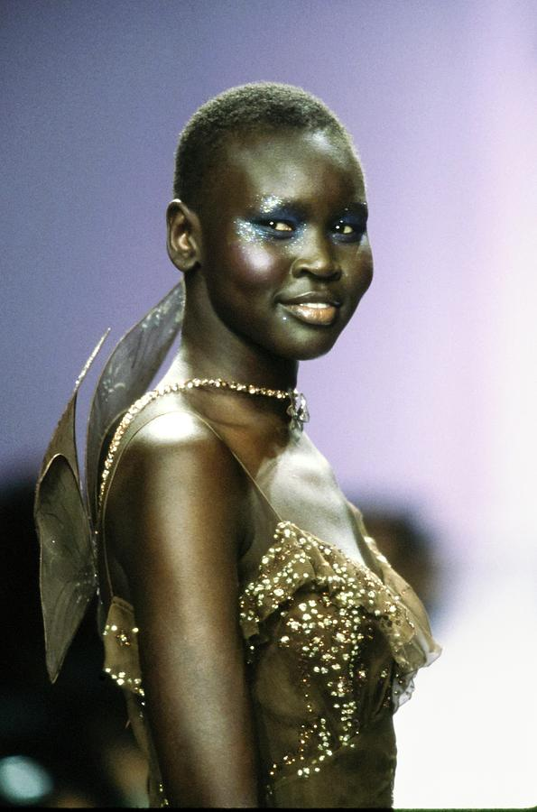 Alek Wek On A Runway For Anna Sui Photograph by Guy Marineau