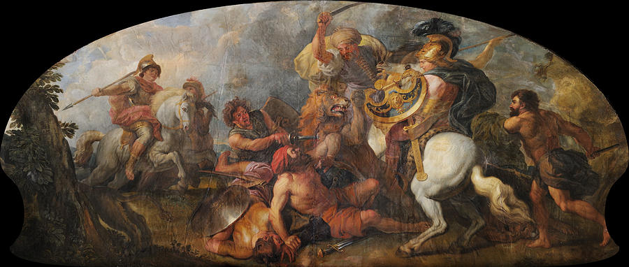 Alexander The Great Hunting Lions Painting By Charles De