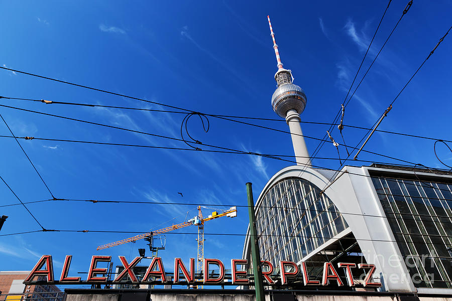 Berlin Photograph - Alexanderplatz Sign And Television Tower Berlin Germany by Michal Bednarek