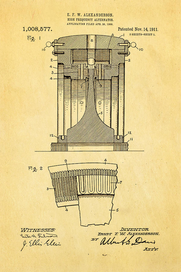 Electricity Photograph - Alexanderson Altenator Patent Art 1911  by Ian Monk