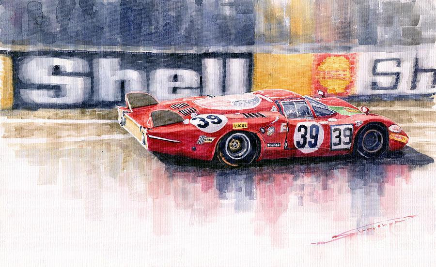 Watercolor Painting - Alfa Romeo T33 B2 Le Mans 24 1968 Galli Giunti by Yuriy Shevchuk