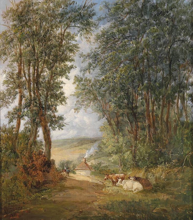 Oil Painting Painting - Wooded Landscape With Resting Cows 1851 by MotionAge Designs