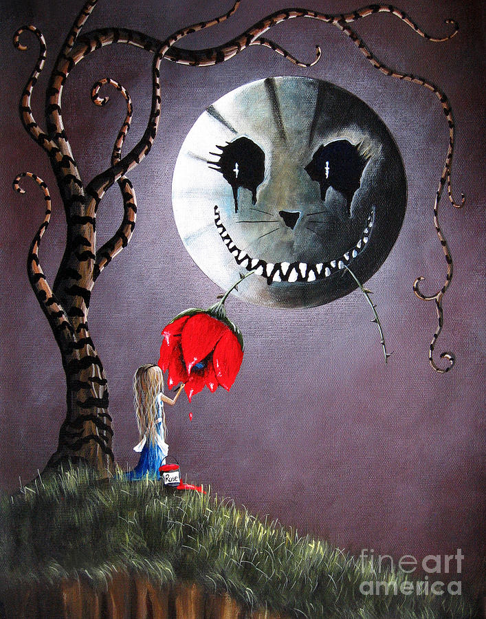 Alice In Wonderland Original Artwork - Alice And The Dripping Rose Painting