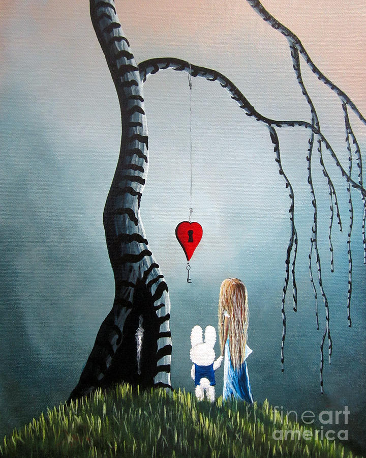 Alice In Wonderland Painting - Alice In Wonderland Original Artwork - Alice And The Enchanted Key by Fairy and Fairytale