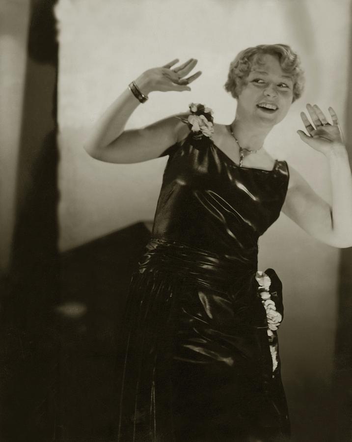 Alice Boulden Wearing A Satin Dress Photograph by Edward Steichen
