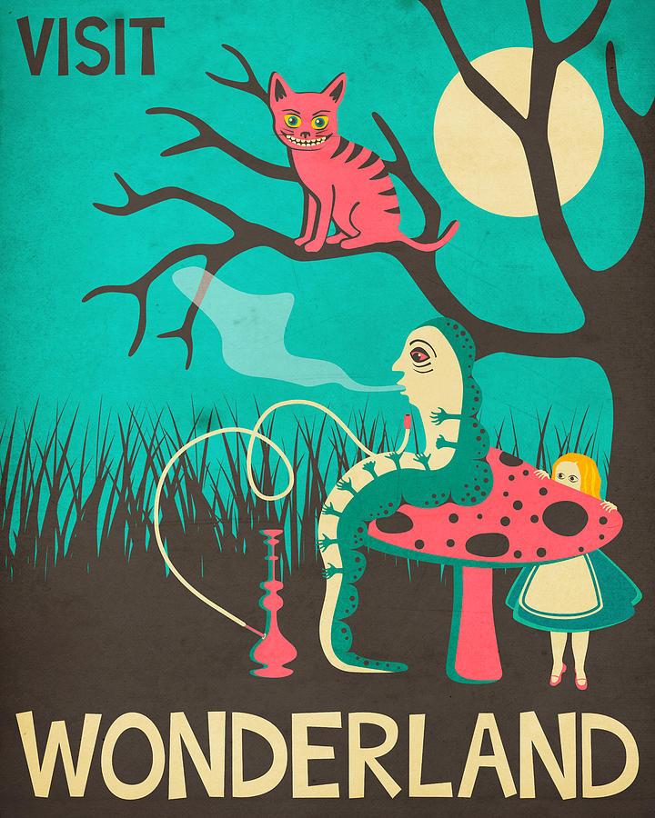 Wonderland Digital Art - Alice In Wonderland Travel Poster - Vintage Version by Jazzberry Blue