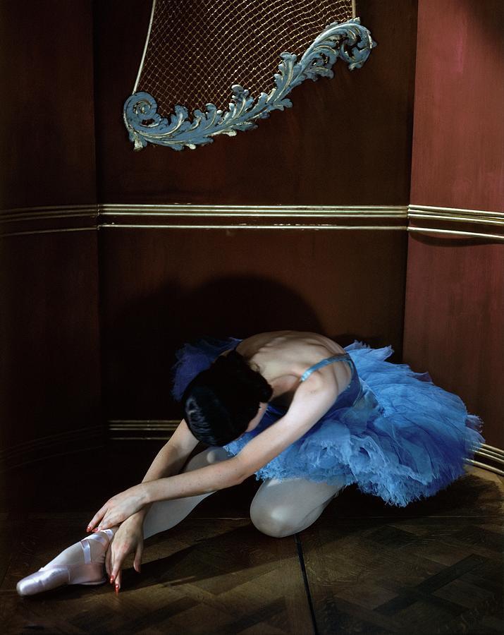 Alicia Markova In A Blue Tutu Photograph by Horst P. Horst