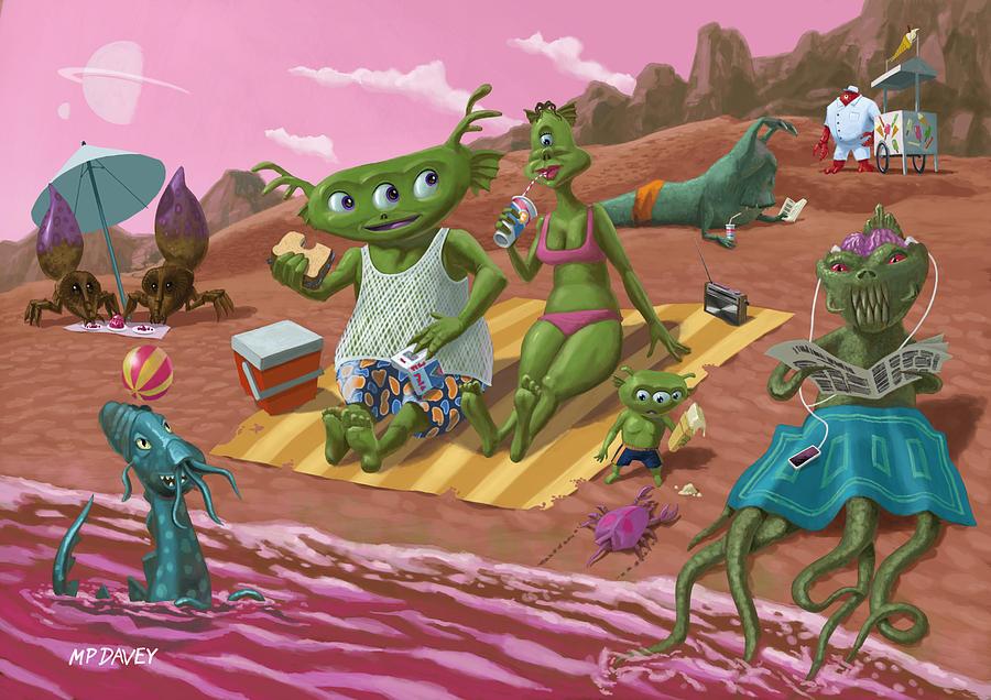 Beach Painting - Alien Beach Vacation by Martin Davey