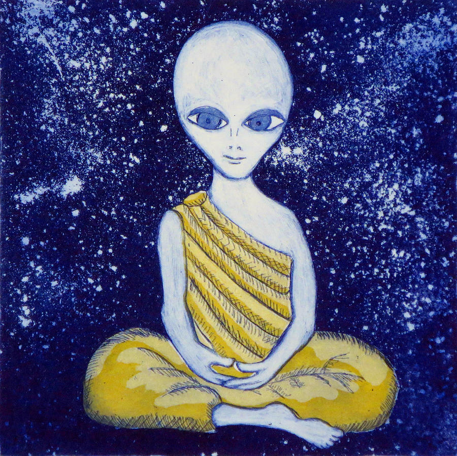 Alien Buddha Painting - Alien Buddha with Stars by Nathan Winsor