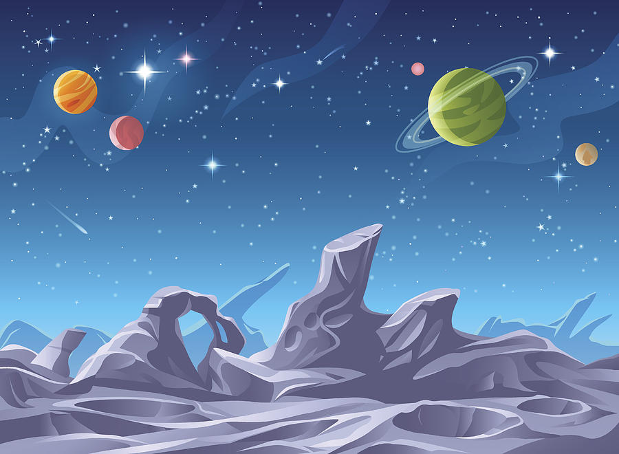 Alien Planet Surface Drawing by Kbeis