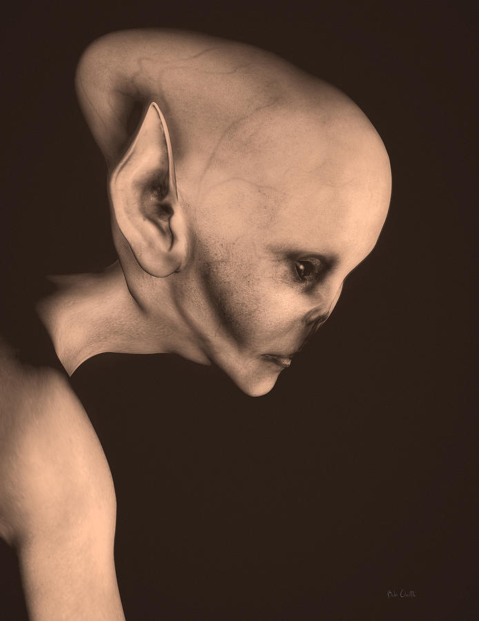 Alien Abduction Digital Art - Alien Portrait  by Bob Orsillo