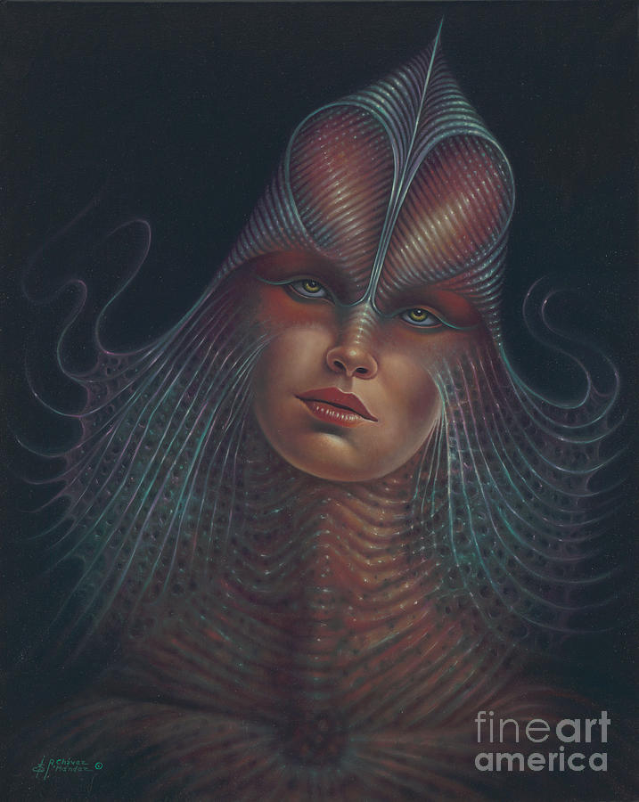 Sci-fi Painting - Alien Portrait Il by Ricardo Chavez-Mendez
