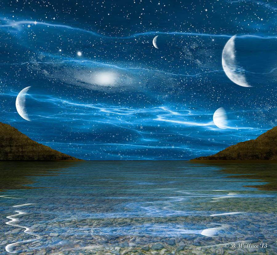 2d Digital Art - Alien Waterscape by Brian Wallace