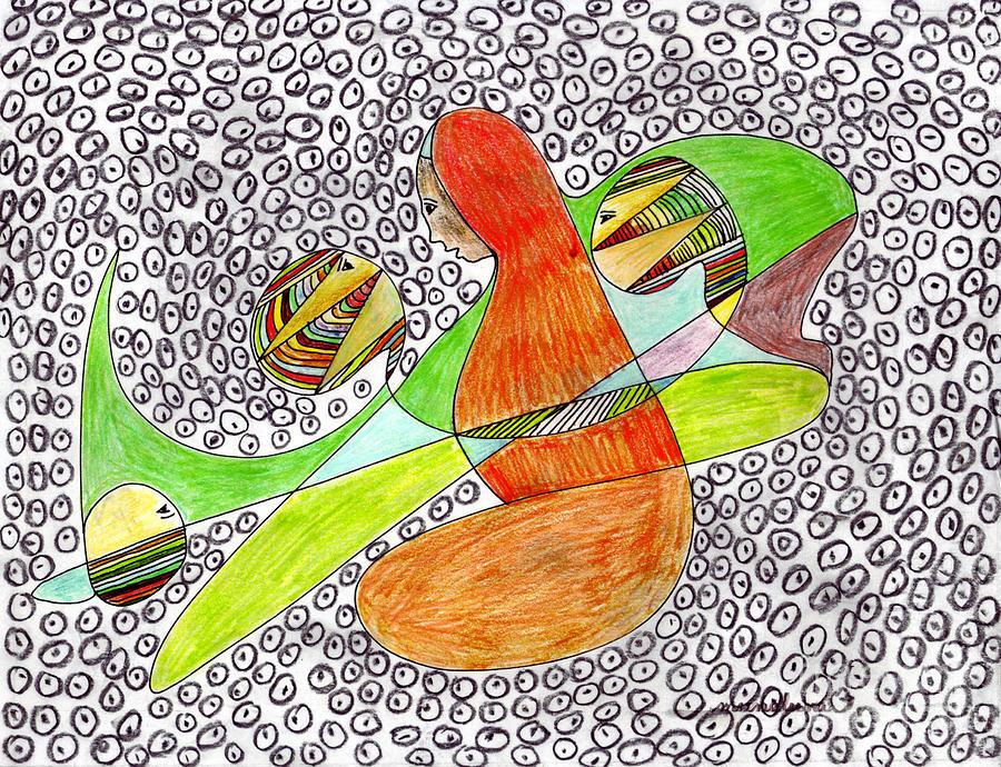 Women Drawing - Alien Women Teleportation by Mukta Gupta
