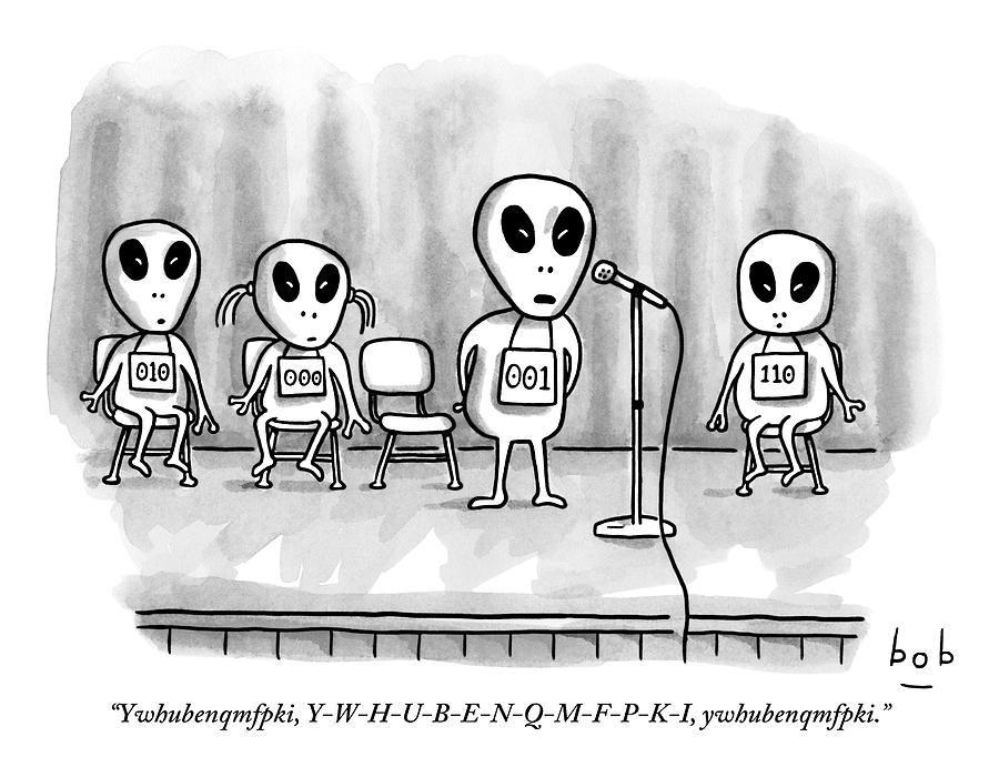 Aliens Participating In A Spelling Bee Drawing by Bob Eckstein