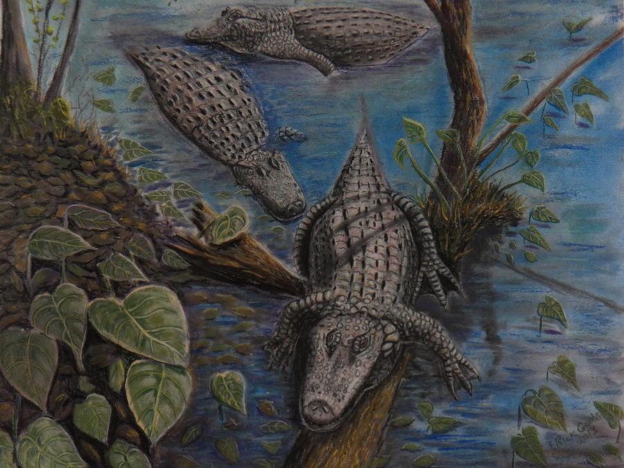 Aligators At Rest Pastel by Richard Goohs