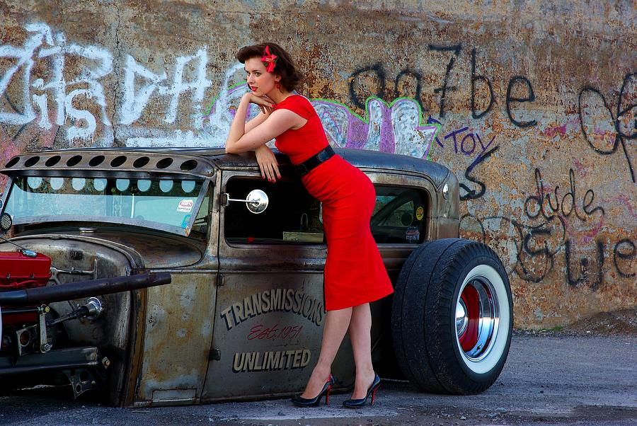 Graffiti Photograph - Alisha With Radillac And Graffiti by Paul Wash