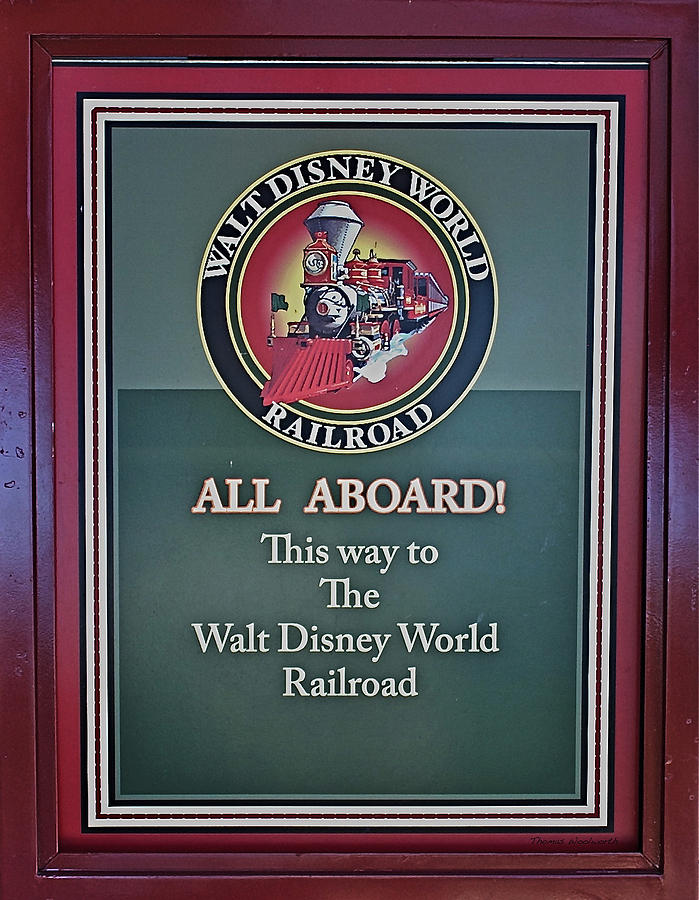 Railroad Photograph - All Aboard Sign by Thomas Woolworth