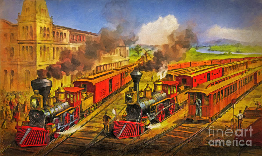 Railroad Digital Art - All Aboard The Lightning Express 1874 by Lianne Schneider