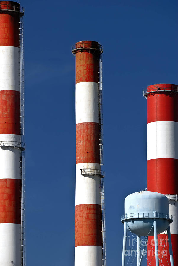 Factory Photograph - All American Industry Smokestacks by Amy Cicconi