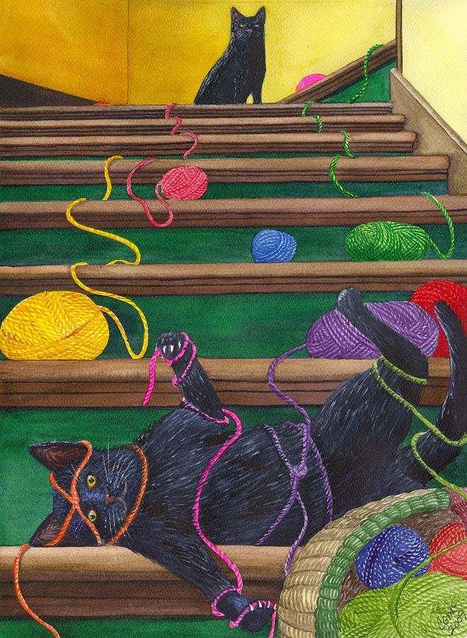 Cat Painting - All Caught Up by Catherine G McElroy