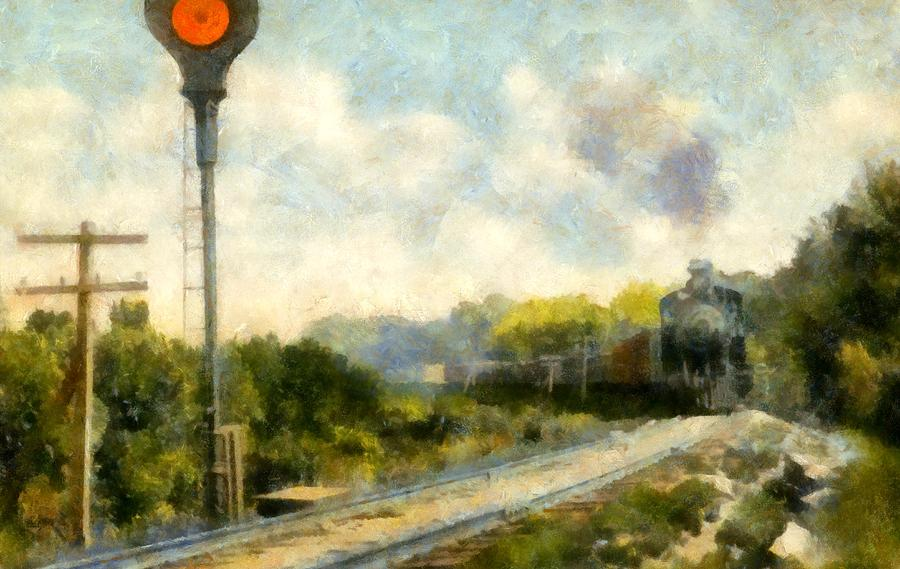 Locomotive Painting - All Clear On The Pere Marquette Railway  by Michelle Calkins