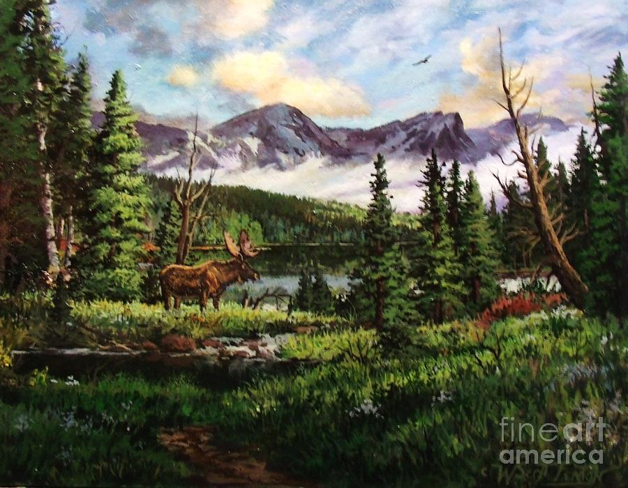 Moose Painting - All Clear by W  Scott Fenton