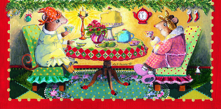 Mice Painting - All Creatures Were Stirring Even The Mice by Deborah Burow
