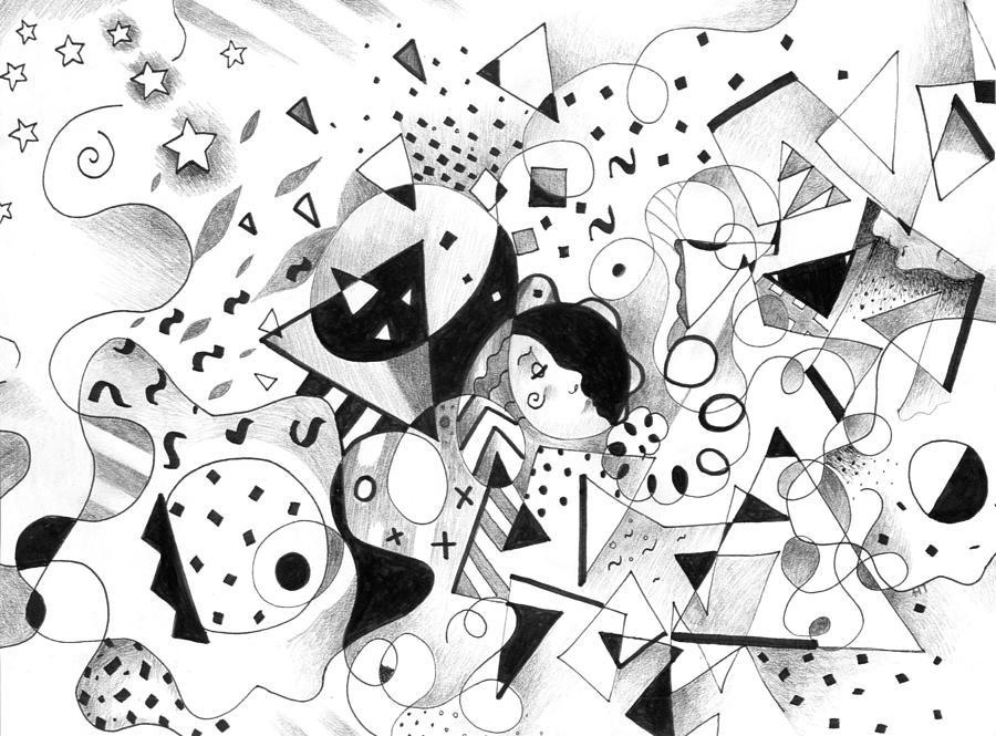 Abstract Drawing - All For One by Helena Tiainen