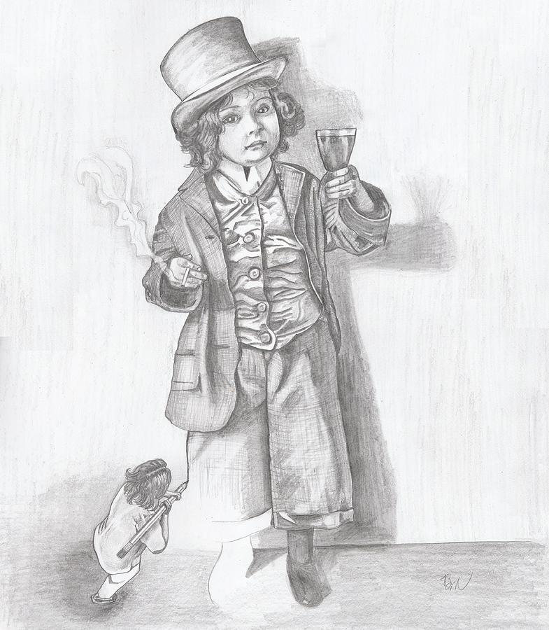 This Is A Drawing Of A Little Me Drawing A Little Boy Acting All Grown Up. Painting - All Grown Up by Beverly Marshall