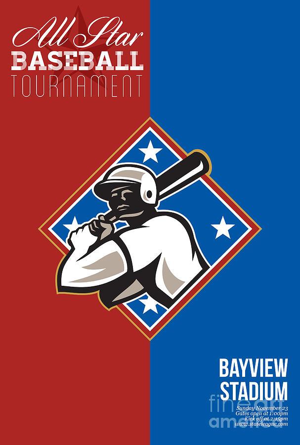 American Digital Art - All Star Baseball Tournament Retro Poster by Aloysius Patrimonio
