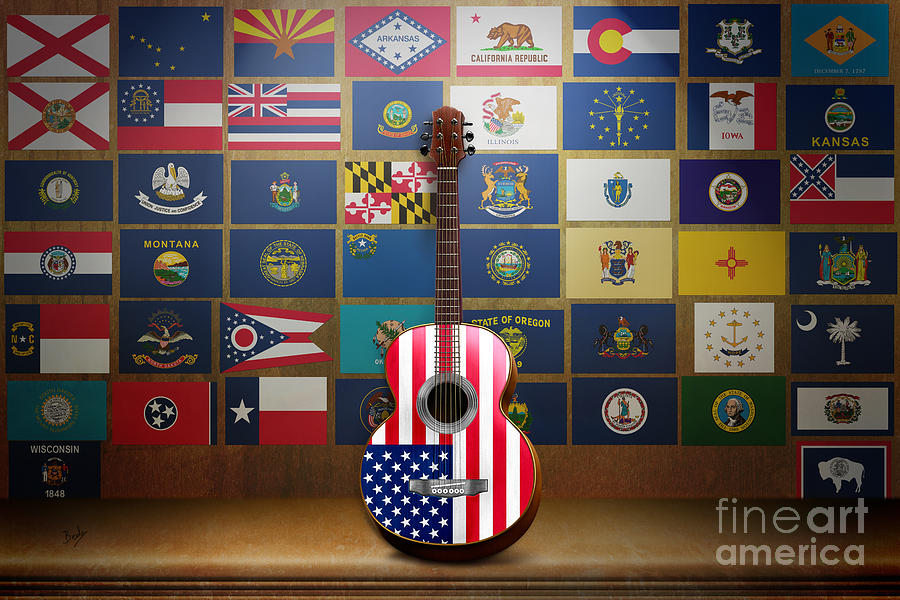 States Digital Art - All State Flags by Bedros Awak
