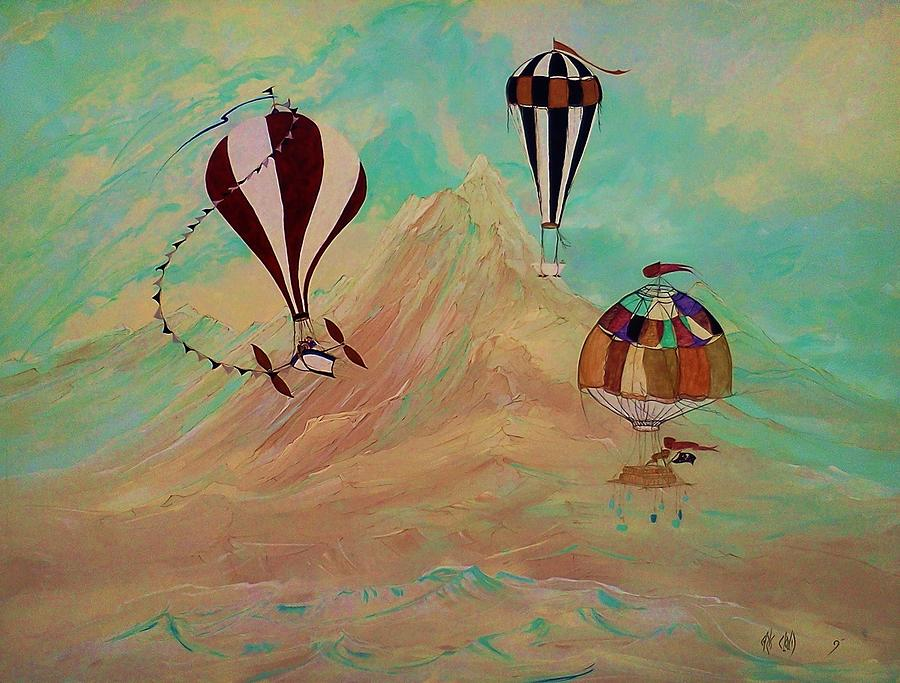 Hot Air Balloon Painting - All The Way To Jupiter by Chris Cloud