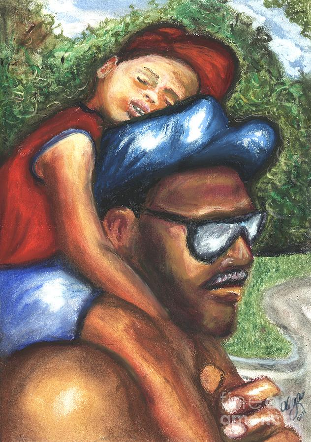Father And Son Mixed Media - All Tuckered Out by Alga Washington