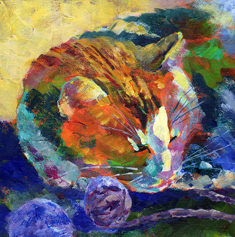 Cat Painting - All Tuckered Out by Melissa Gannon