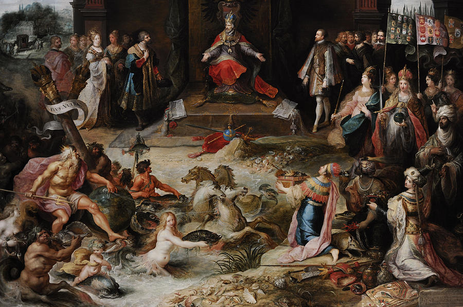 17th Century Photograph - Allegory Of The Abdication Of Emperor Charles V In Brussels, C.1630-1640, By Frans Francken by Bridgeman Images