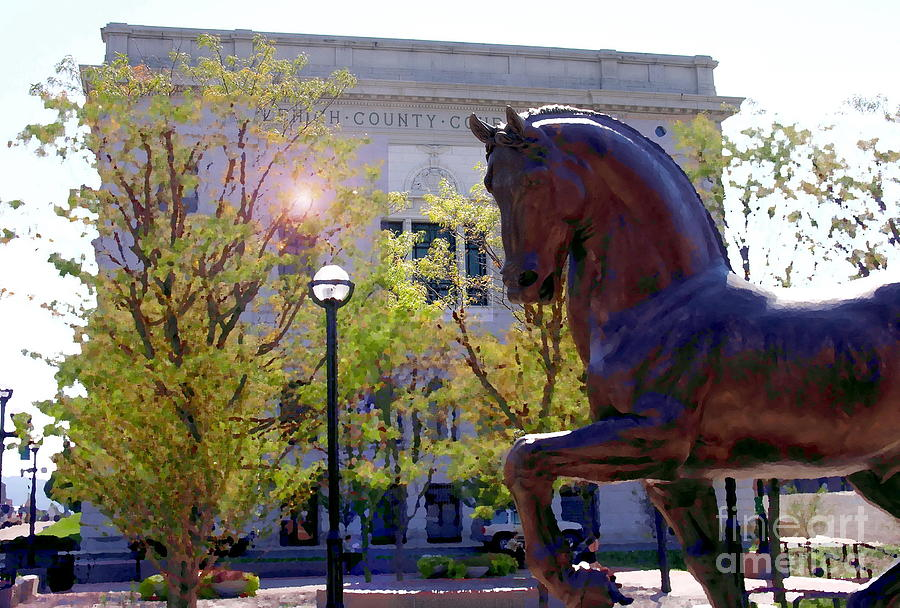Allentown Pa Photograph - Allentown Pa Old Lehigh County Courthouse And Davinci I Horse  by Jacqueline M Lewis