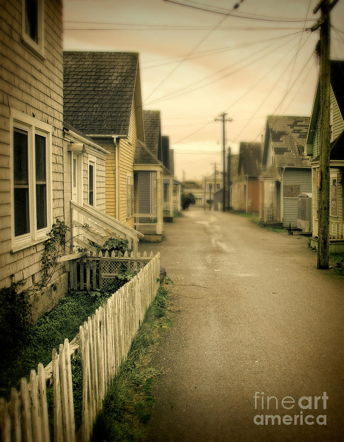 Telephone Poles Photograph - Alley And Abandoned Houses by Jill Battaglia
