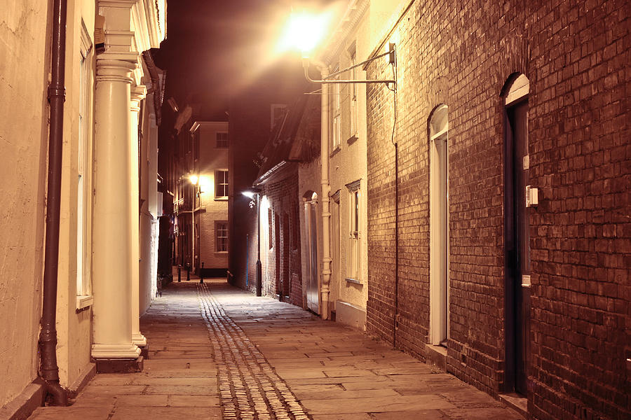Alley Photograph - Alley At Night by Tom Gowanlock